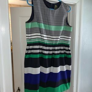 Striped fit and flare dress with pockets!